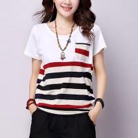 Round Neck Short Sleeves Stripes Print Blouse Top - White