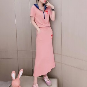 Sports Wear Two Pieces Contrast Women Fashion Top With Skirt - Pink