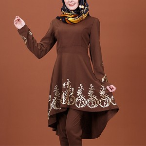 Irregular Thread Art Women Fashion Muslim Dress Shirt - Brown