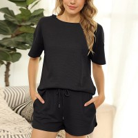 Round Neck Short Sleeves Sports Wear Two Pieces Set - Black