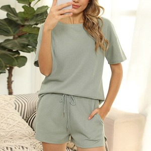 Round Neck Short Sleeves Sports Wear Two Pieces Set - Green