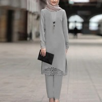 Hollow Solid Color Full Sleeves Two Pieces Muslim Dress - Gray
