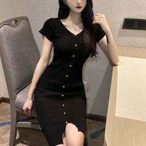 V Neck Shott Sleeved Clothing Women Fashion Solid Color Party Dress - Black