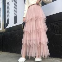 Ruffled Multi Layered Pleated Irregular Casual Skirt - Apricot