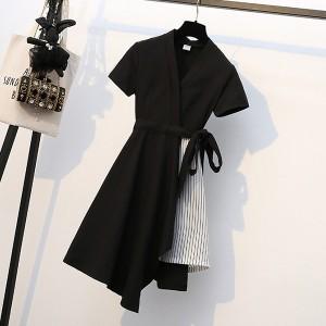 Short Sleeves Waist Belt Irregular Mini Dress