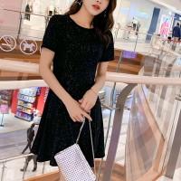 Shiny Round Neck Short Sleeves Mini Dress - Black