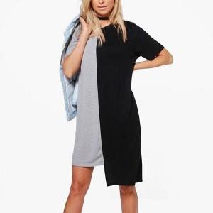 Contrast Round Neck Irregular Short Sleeved Fashion Dress