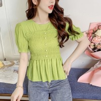 Short Sleeves Round Neck Blouse Top - Green