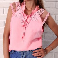 Ruffled Neck Lace Solid Color Blouse Top - Pink