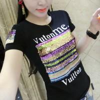 Sequins Decorative Short Sleeved T-Shirt - Black