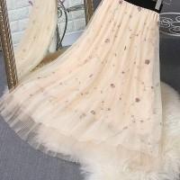 Chiffon Floral Printed Elastic Waist A-Line Skirt - Apricot