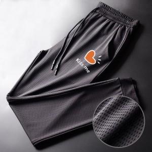 Elastic Waist Narrow Mesh Breathable Sports Wear Trouser - Black