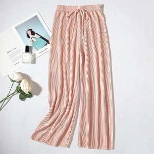 Elastic Waist Polyester Solid Color Trouser - Pink