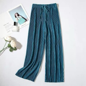 Elastic Waist Polyester Solid Color Trouser - Blue