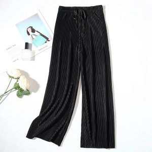 Elastic Waist Polyester Solid Color Trouser - Black
