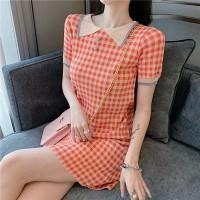 Doll Neck Geometric Printed Short Sleeved Mini Dress - Red