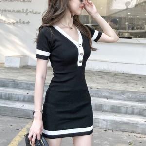 Button Closure Contrast Short Sleeves Mini Dress - Black