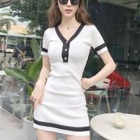Button Closure Contrast Short Sleeves Mini Dress - White