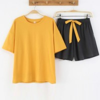Two Pieces Round Neck Contrast Matching Set For Women - Yellow