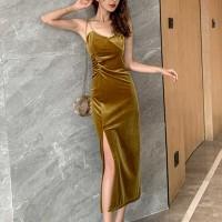Spaghetti Strap Velvet Shiny Party Wear Full Dress - Yellow