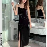 Spaghetti Strap Velvet Shiny Party Wear Full Dress - Black