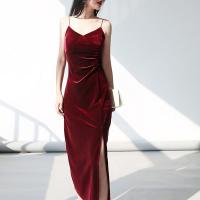 Spaghetti Strap Velvet Shiny Party Wear Full Dress - Wine Red
