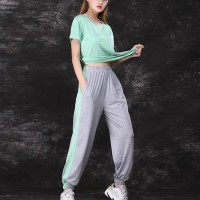 Round Neck Two Pieces Contrast Sports Suit - Green