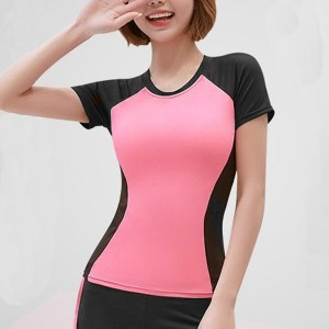 Round Neck Contrast Short Sleeves Body Fitted Top - Pink