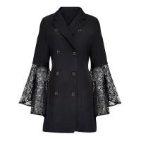 Suit Neck Flared Lace A-Line Formal Coat Dress - Black
