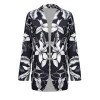 Floral Printed Summer Outwear Jacket Coat - Black