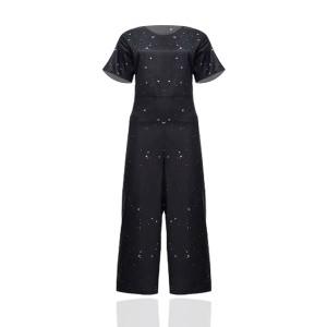 Shiny Waist Belt Two Pieces Casual Wear Suit - Black
