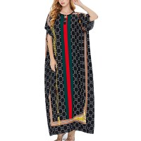 Round Neck Designers Printed Short Sleeves Women Fashion Dress - Multicolor