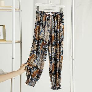 Graphic Narrow Bottom Waist Elastic Trouser - Multicolor