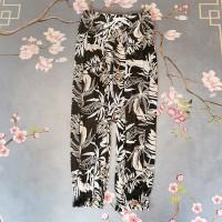 Graphic Narrow Bottom Waist Elastic Trouser - Gray