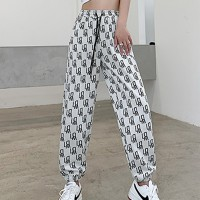 Graphic Full Length Narrow Bottom Printed Trouser - White