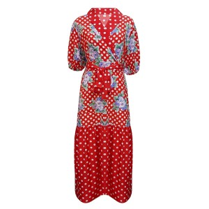 Polka Dotted Floral Printed A-Line Midi Dress - Red
