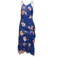 Floral Printed Spaghetti Strap Irregular Dress - Blue