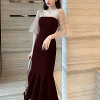 Flared Hem Party Wear Ruffled Sleeves Party Dress - Wine Red