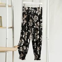 Narrow Bottom Floral Printed Women Fashion Trouser - Black