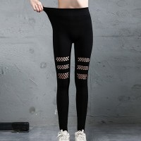 Body Fitted Net Patched Narrow Bottom Casual Wear Trouser Pants - Black