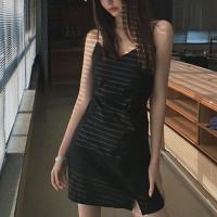 Spaghetti Strap Solid Color Mini Dress - Black