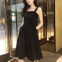 Strap Shoulder A-Line Sleeveless Midi Dress - Black