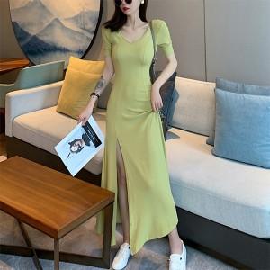 V Neck Short Sleeves Hem Split Full Dress - Green