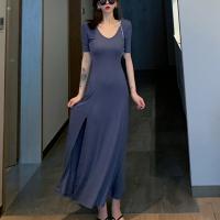 V Neck Short Sleeves Hem Split Full Dress - Blue