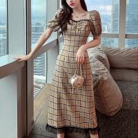 Square Neck Check Printed Short Sleeves Maxi Dress - Khaki