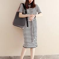 Round Neck Stripes Printed Waist Strap Midi Dress - White