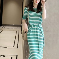 Round Neck Stripes Printed Waist Strap Midi Dress - Green