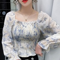 Square Neck Chiffon Elastic Waist Flared Sleeves Blouse Top - Blue