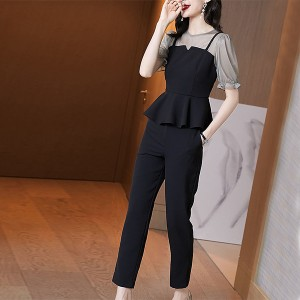 Two Pieces Short Sleeves Contrast Party Wear Suit - Black