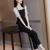 Two Pieces Short Sleeves Contrast Party Wear Suit - Black and White